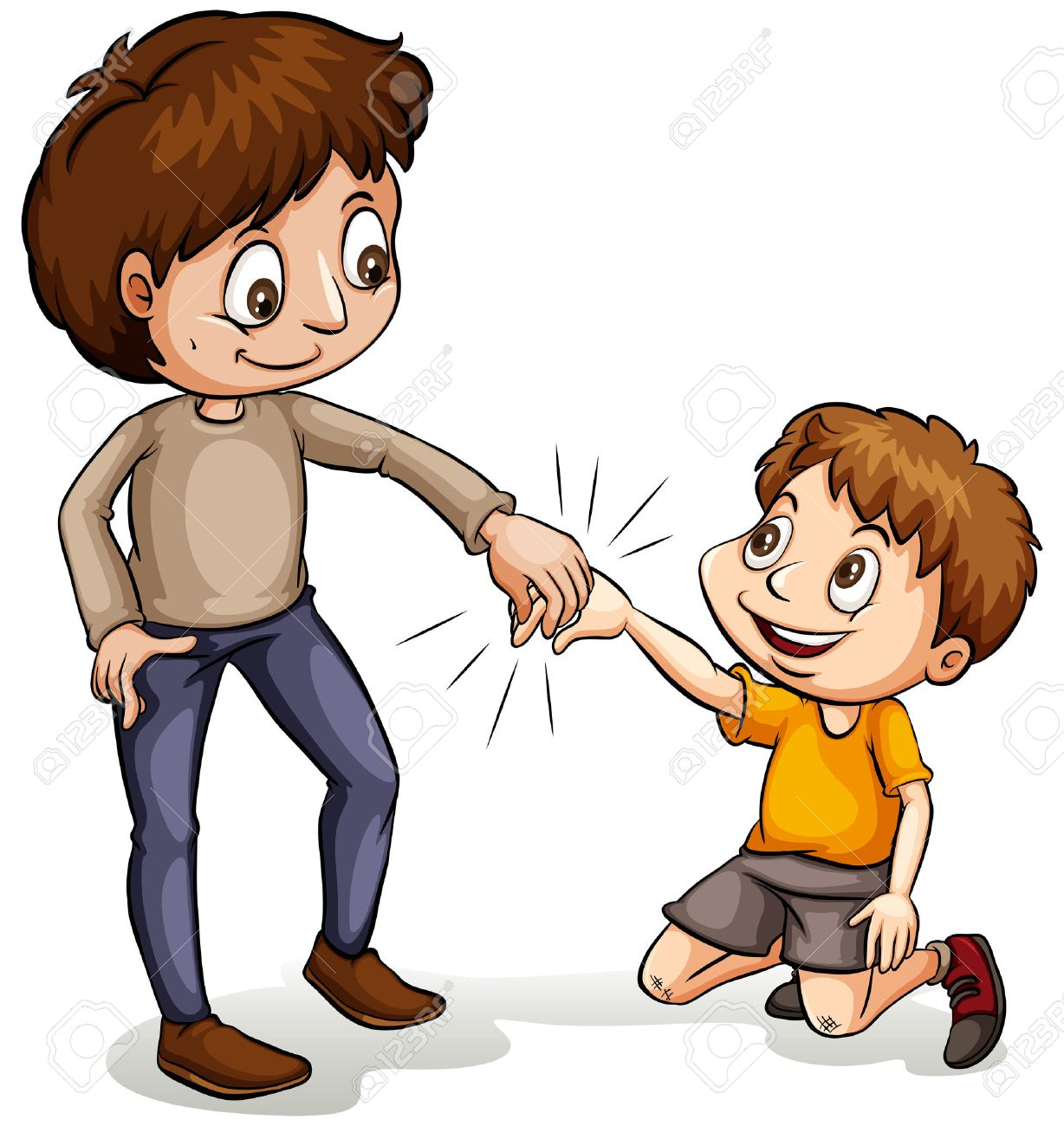 Image showing  a helpful bigger boy holding his hand out, to grasp the hand of a smaller boy who has fallen,   and is in need of a hand up